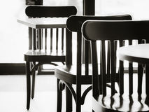 Empty seats Table chair set in Restaurant Cafe Black and white Royalty Free Stock Photography