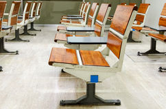 Empty seats at the train in waiting area Royalty Free Stock Images