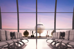 Empty seatsn in airport. 3d rendering airport terminal with glass windows and empty seats Stock Image