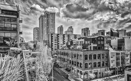 Black and White Streets of Seattle with no People and no Cars Royalty Free Stock Images