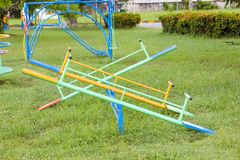 Empty seesaw on a playground Royalty Free Stock Images
