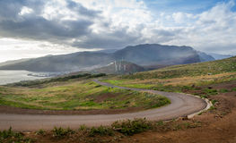 Empty serpentine road at Madeira island landscape Royalty Free Stock Photo
