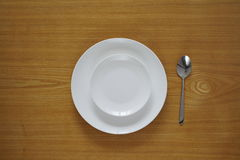 Empty set of plates from top view Stock Photos