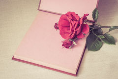 Empty sheet book and red rose Royalty Free Stock Images
