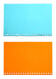 Empty sheet of orange and blue paper isolated Stock Photography