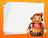 An empty sheet of paper with a musical monkey. Illustration of an empty sheet of paper with a musical monkey on an orange background Royalty Free Stock Photos