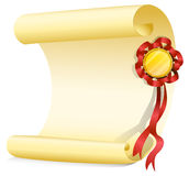 An empty sheet of paper with a ribbon Stock Photography