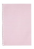 Empty sheet of pink paper from a notebook Stock Photography