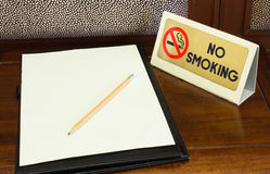 Empty sheet and Smoking sign Royalty Free Stock Photography