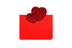 Empty sheet with two hearts Royalty Free Stock Photo