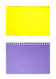 Empty sheet of yellow and purple paper isolated Stock Images