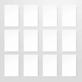 Empty sheets of paper in realistic design flat style isolated. Empty sheets of paper in realistic design isolated on white. Mockup template with empty pages Royalty Free Stock Image