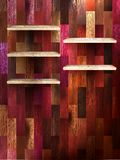 Empty shelf for exhibit on color wood. EPS 10 Royalty Free Stock Image