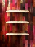 Empty shelf for exhibit on color wood. EPS 10 Stock Photo