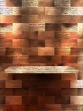 Empty shelf for exhibit on color wood. EPS 10 Royalty Free Stock Photo