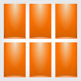 Empty shelf for exhibit. On orange wall. Vector illustration Stock Photo