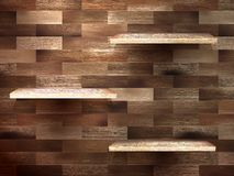 Empty shelf for exhibit on wood background. EPS 10 Royalty Free Stock Images