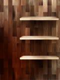 Empty shelf for exhibit on wood background. EPS 10 Stock Image