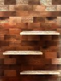 Empty shelf for exhibit on wood background. EPS 10 Stock Photos