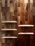 Empty shelf for exhibit on wood background. EPS 10 Royalty Free Stock Image