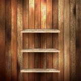 Empty shelf for exhibit on wood background. EPS 10 Royalty Free Stock Photos