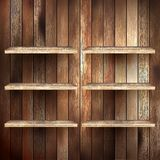 Empty shelf for exhibit on wood background. EPS 10 Stock Image