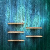 Empty shelf for exhibit on wood background. EPS 10 Stock Photography