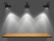 Empty shelf illuminated by spotlights. Illustration Royalty Free Stock Photo