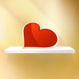Empty shelf with red heart. Royalty Free Stock Image