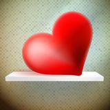 Empty shelf with red heart. Stock Photos