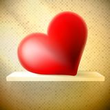 Empty shelf with red heart. Royalty Free Stock Images