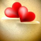 Empty shelf with red hearts. Stock Photo