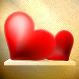 Empty shelf with red hearts. Stock Photos