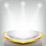 Empty shelf in the shape of a gold heart for exhibition. .3d. Royalty Free Stock Image
