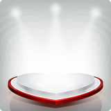 Empty shelf in the shape of a red heart for exhibition. . 3d. This is an empty shelf for exhibition in the shape of a red heart. This is executed in grey scale royalty free illustration