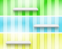 Empty Shelf on the Wall. Three color. Fully editable EPS 10 file Royalty Free Stock Image