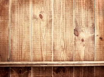 Empty shelf on woode wall Stock Photo