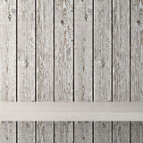 Empty shelf on wooden background Royalty Free Stock Photos