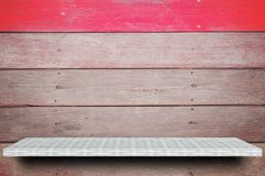 Empty shelf on wooden background for product display stock photography