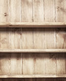 Empty shelf on wooden background. Stock Photography