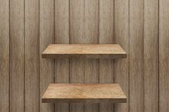 Empty 2 shelf at wooden wall background royalty free stock image
