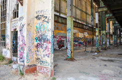 Empty Shell of Old Power House Ruins Royalty Free Stock Photo
