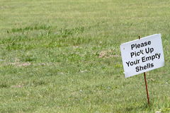 Empty Shells Sign At Shooting Range royalty free stock images