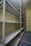 Empty shelves. Perspective shot of empty shelves stock photography