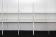 Empty shelves. And aisles in supermarket grocery store Royalty Free Stock Image