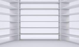 Empty shelves, blank bookcase library Stock Photos