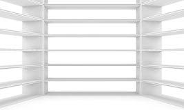 Empty shelves, blank bookcase library Royalty Free Stock Images