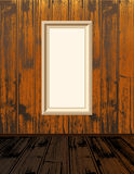 Empty shelves. Clean vector empty frames, on vintage wood wallpaper, with brown wooden floor Royalty Free Stock Photo