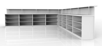 Empty shelves. 3d render of Empty shelves Royalty Free Stock Photo