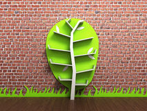 Empty shelves in the form of a tree against a brick wall 3d rend. Empty shelves in the form of a tree against a brick wall Stock Images